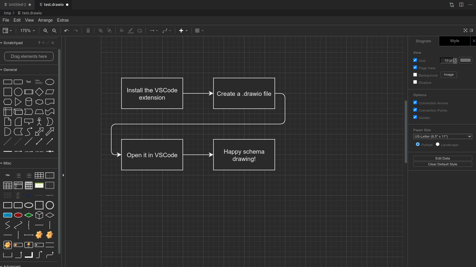 "A screenshot of the ""Draw.io Integration"" VS Code plugin interface"